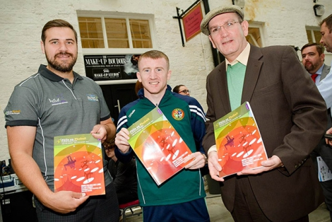 Pictured at the launch of the Feile 2016 programme this week are Harry Connolly, Visit West  Belfast, double Olympic bronze medal winner, Paddy Barnes, and Damiam Smyth, Head of Drama and Literature at the Arts Council of Northern Ireland