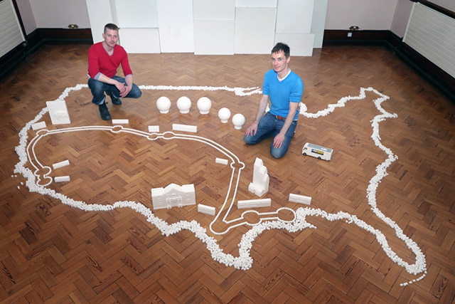 Pictured left to right, sculptors Mark Revels and Brendan Jamison will embark on a 3-month tour of the US this summer creating Sugar Cube sculptures of some of the most iconic buildings from across the states.