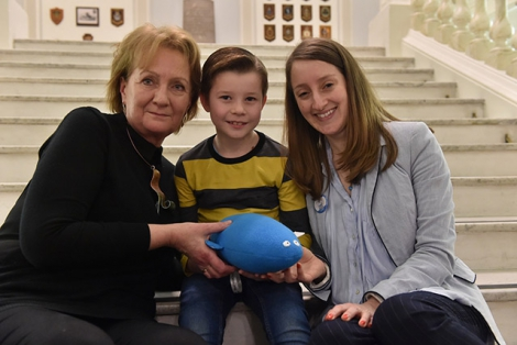 Roisin McDonough, Chief Executive Arts Council of Northern Ireland pictured with 7-year-old Aaron McMillen and Aisling Ni Labhrai, at the launch of the Farset Project at Belfast City Hall.