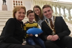 Pictured at the launch of the Farset Project is Roisin McDonough, Arts Council of Northern Ireland, Aaron McMillen winner of the schools mascot competition, Aisling Ni Labhrai, Culturlann and Deputy Lord Mayor of Belfast Alderman Guy Spence
