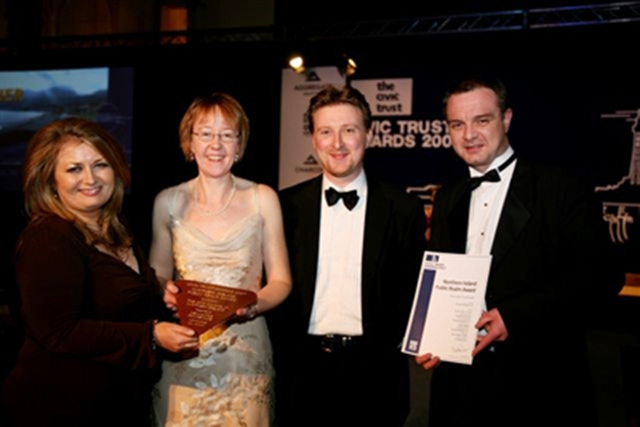 Receiving the Northern Ireland Public Realm Award at the Civic Trust�s gala awards ceremony: Sharon O�Connor, Director of Cultural and Economic Development for Down District Council, Catherine Adams (Scott Wilson), Paul Harron, Architecture and Public