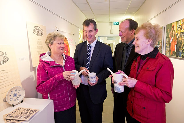 Minister Edwin Poots MLA and Bob Collins, Chairperson of the Arts Council of Northern Ireland take a very special tea-break at the Arts and Older People 2013 - 2016 programme launch