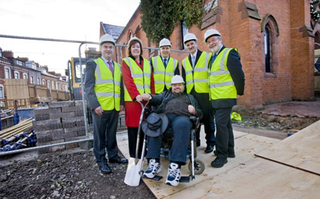 Pictured digging the first sod at the announcement are Gearoid O'Caireallainn, Chairman, Culturlann McAdam O Fiaich (front), Social Development Minister, Alex Atwood, (left), Rosalie Flanagan, Permanent Secretary of the Department of Culture, Arts and Lei