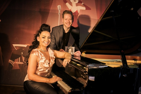 Ruth McGinley pictured at the launch of her album RECONNECTION with Ciaran Scullion, Head of Music, Arts Council of Northern Ireland
