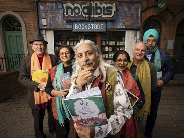 Pictured are Damian Smyth, Arts Council of Northern Ireland, Namita Gokhale, writer, publisher and Director of the Jaipur Literature Festival, Sanjoy K Roy, Managing Director Teamwork Art, Reba Som, historian and author, David Torrens, No Alibis Bookstore