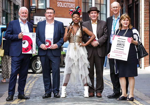 Terence Brannigan, Chair Tourism NI, Jonathan Stewart, Director British Council NI, La Dame Blanche, Dr Damian Smyth, Head of Drama and Literature at Arts Council of Northern Ireland, Richard Wakely, Artistic Director Belfast International Arts Festival,