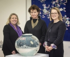 Pictured launching the exhibition (L_R)  is exhibition curator and Craft NI Board Member, Kim Mawhinney, Roisin McDonough, Chief Executive, Arts Council Northern Ireland with Katherine McDonald, Craft NI.