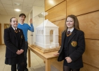 Pictured (L-R) are pupils Evie Close and Kenadie Butler with artist, Brendan Jamison and his sugar cube sculpture, Henry Tate's Mausoleum.