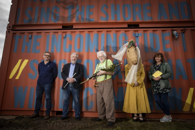 Pictured (L-R) launching the programme are John McIlDuff, Dumbworld, Neil Martin, Snow Water, Dara Vallely and Anne Hart , Armagh Rhymers, with Paula McFetridge, Kabosh.
