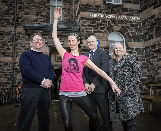 Pictured (L_R) is Roger Courtney, Interim Manager, Crescent Arts Centre, Helen Hall, dancer, Paul Moore, Department For Communities and Noirin McKinney, Arts Council of Northern Ireland.