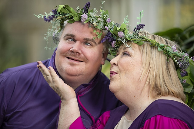 Fairy King and Queen Oberon and Titania (Gareth Smyth & Michelle Porter), sprinkle a little magic ahead of Open Arts 'A Midsummer Night's Dream' at The MAC on 26-27 April.