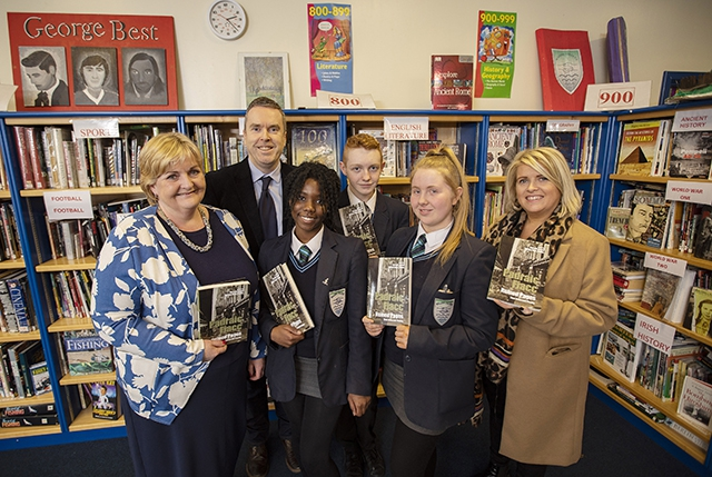 Pictured are year 11 students from Malone Integrated College with Principal Katrina Moore, James Kerr from Verbal Arts and Gilly Campbell from the Arts Council.