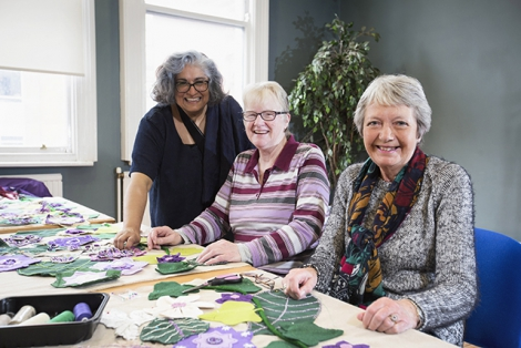 Pictured (L-R) at Prime Cut's banner-making workshop are artist, Bobbi Rai-Purdy, Rose Holt from the Atlas Women's Centre Lisburn and Flo Barr from the Shankill Women's Centre.