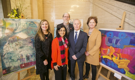 Pictured are Dr Jenny Elliott, Arts Care, Nisha Tandon, chief Executive, ArtsEkta, Conor Shileds, Community Arts Partnership, Bill Woolsey, MD of Beannchor and Roisin McDonagh, Chief Exceutive,Arts Council Northern Ireland.