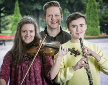 Pictured at rehearsals are Ulster Youth Orchestra principal violinist, Suzie Griffin, principal clarinettist, Russell Coates and Ciaran Scullion, Arts Council.