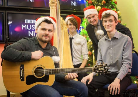 Pictured are recipients, Niall Hanna (guitarist and singer), Richard Allen (harpist), Aaron O'Hare (baritone singer) and Seán Morgan-Rooney  (pianist).