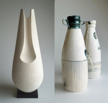 Line and Shadow 1 by Claire Gibson and N.I. Milk Bottles by Karen Gibson.