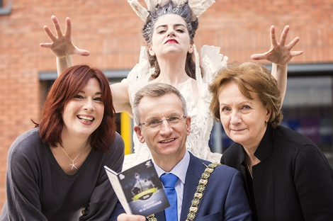 Pictured at the launch of the CS Lewis festival are (l-r); Rachel Kennedy, Festival Director, Lord Mayor of Belfast, Alderman  Brian Kingston, Maria Connolly and Roisin McDonough Arts Council of Northern Ireland