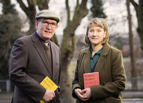 Arts Council Head of Literature, Damian Smyth, with poet Leontia Flynn. Leontia will be introducing Heaney's fifth collection of poetry, 'Field Work' as part of the Field Day Weekend at Heaney HomePlace