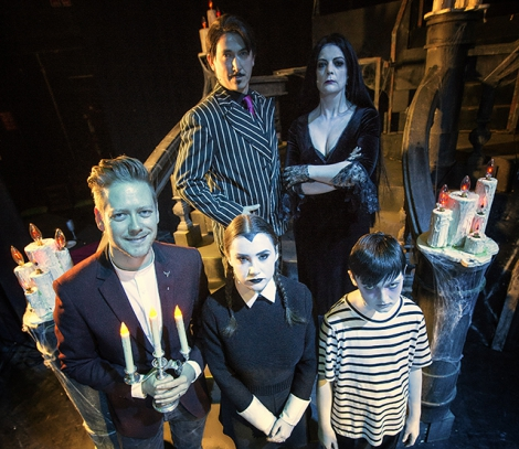 Pictured are Ciaran Scullion, Arts Council, Emma Martin (Wednesday), Ben McCambley (Pugsley), Brian Trainor (Gomez) and Kerry Cooper (Morticia).