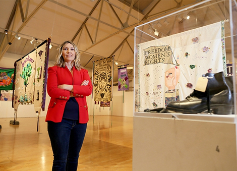 Millennium Court Arts Centre hosts banner exhibition celebrating the centenary of the women's vote